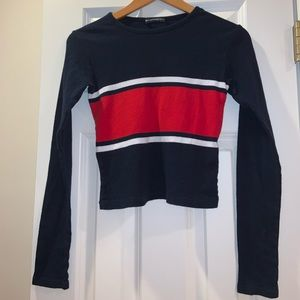 a blue red and white sweater from brandy melville
